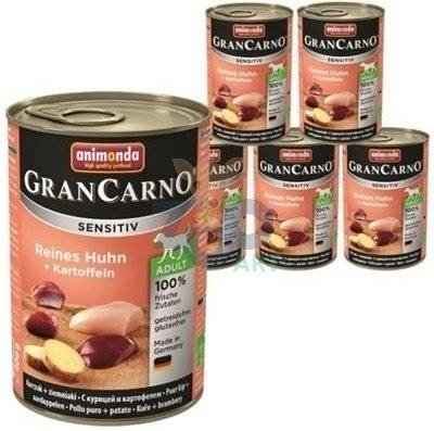 ANIMONDA GranCarno Sensitiv  Adult Dog smak: Kurczak + ziemniaki  6x400g