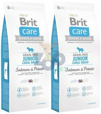 BRIT CARE GRAIN FREE JUNIOR LARGE SALMON & POTATO - 2x12KG