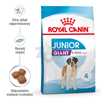 ROYAL CANIN Giant Junior 15kg + 5x Kabanosy + 5x Paszteciki