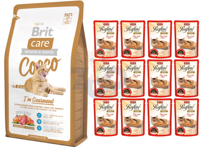 Brit Care Cat Cocco I'am Gourmand 2kg + Cat Rafine Soupe Adult Indyk & cielęcina + ser 12x100g