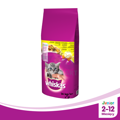 Whiskas Junior Kurczak 14kg + Snacky Mouse GRATIS!
