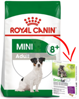 ROYAL CANIN Mini Adult +8 - 8kg + BAYER Drontal - Dog flavour 2tabl.