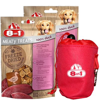 8in1 Dog Freeze Dried Duck 2x 50g + Sakiewka na przysmaki GRATIS