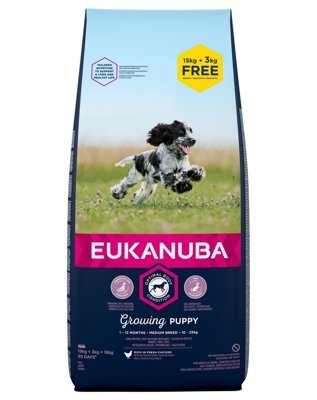 EUKANUBA Puppy&Junior Medium Breed Chicken 15kg +3kg GRATIS