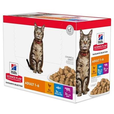 HILL'S SP Science Plan Feline Adult Multipack Favourite Selection 12x85g saszetki